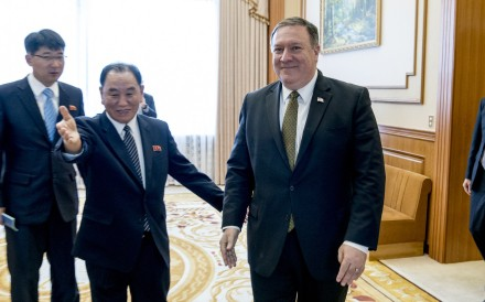 US Secretary of State Mike Pompeo and Kim Yong-chol, a North Korean senior ruling party official and former intelligence chief. Photo: AP