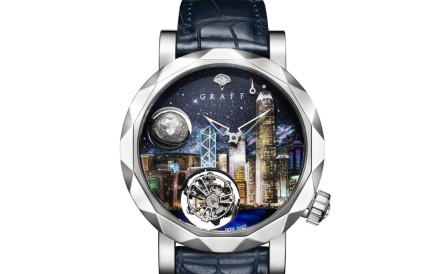Graff. The city's iconic skyline takes centre-stage in the GryoGraff Skyline Hong Kong. Along with a tourbillon, the dial also features a 3D white gold moon phase at 10 o'clock. Price on request