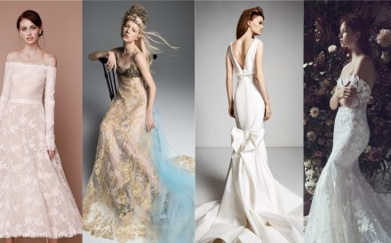 The New York Bridal Week Fall 2019 features (from left) wedding gowns from Tadashi Shoji, Vera Wang, Viktor & Rolf and Monique Lhuillier.