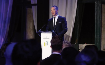 Benedict Cumberbatch speaks during the Jaeger-LeCoultre dinner in Venice. Photo: Tristan Fewings/Getty Images