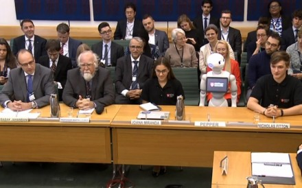 The appearance of Pepper the robot at a UK education committee provoked comparisons to Theresa May. Photo: AFP/PRU