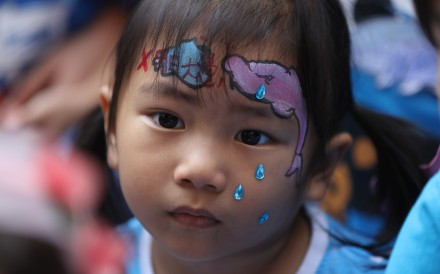 A girl wears make-up depicting the threat to Hong Kong's iconic pink dolphins if the mega reclamation project off Lantau Island goes ahead, at a protest on October 14. Photo: Edward Wong