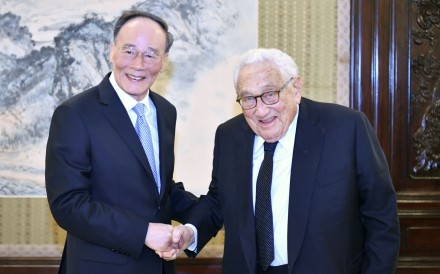 Chinese Vice-President Wang Qishan meets former US secretary of state Henry Kissinger in Beijing on Saturday. Photo: Xinhua