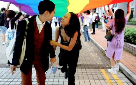 Participants in Hong Kong's gay pride parade on November 17. Photo: Edward Wong