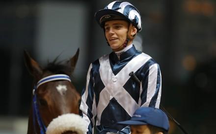 Jockey Callan Murray returns to the winners circle after winning on The Sylph at Happy Valley during International Jockeys' Championship night. Photo: Kenneth Chan