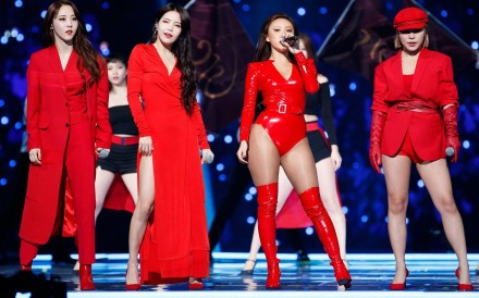 Hwasa (third from left) with Mamamoo at the Mama Japan awards show on Wednesday.