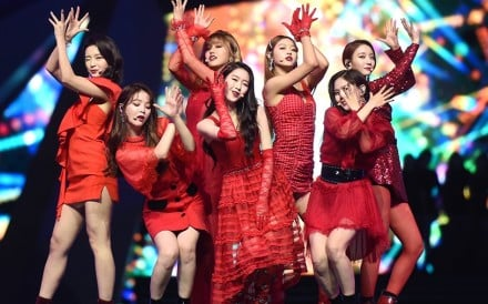 The seven-member South Korean girl group Oh My Girl – all of them dressed in stunning red outfits – performs at last Friday's MAMA ceremony held in Hong Kong. Photos: CJENM