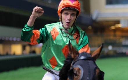 Sam Clipperton celebrates after saluting on Rule Thee in November. Photos: Kenneth Chan