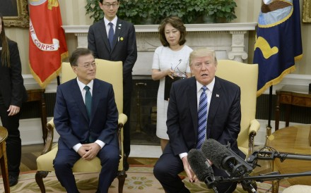 President Donald Trump meets with South Korean President Moon Jae-in. Photo: Tribune News Service