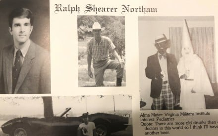 This image shows Virginia Gov. Ralph Northam's page in his 1984 Eastern Virginia Medical School yearbook. The page shows a picture, at right, of a person in blackface and another wearing a Ku Klux Klan hood next to different pictures of the governor. It's unclear who the people in the picture are, but the rest of the page is filled with pictures of Northam and lists his undergraduate alma mater and other information about him. Photo: Eastern Virginia Medical School via AP