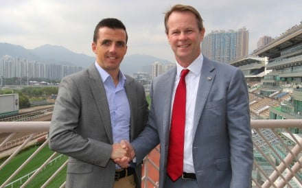 Martin Harley (left) and the Hong Kong Jockey Club's Andrew Harding. Photo: Kenneth Chan