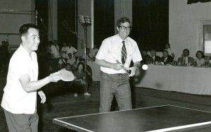 Richard Solomon (right)plays ping-pong alongside Zhuang Zedong, China's then world champion, during the Chinese team's 1972 tour of the US. Photo: Family photo.