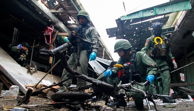 Motorcycle bomb near Thai pork stall kills 3
