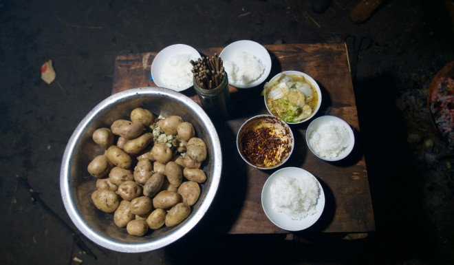 The family's main diet consists of rice and potatoes.