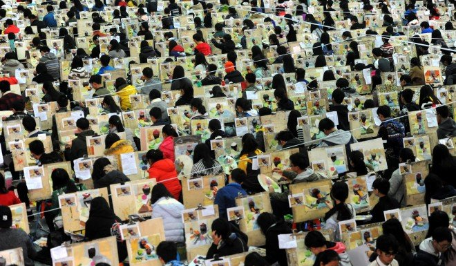 Students participate in a fine arts exam in Wuhan, Hebei Province. The voices of the younger generation are increasingly hard to ignore or censor.