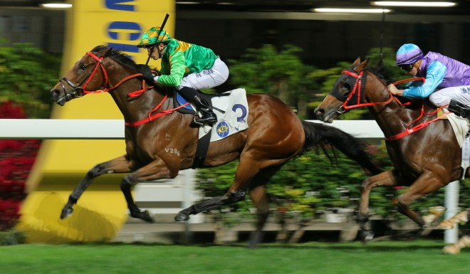 Very Rich Man thunders to victory in the 1200m at Hong Kong's Happy Valley.