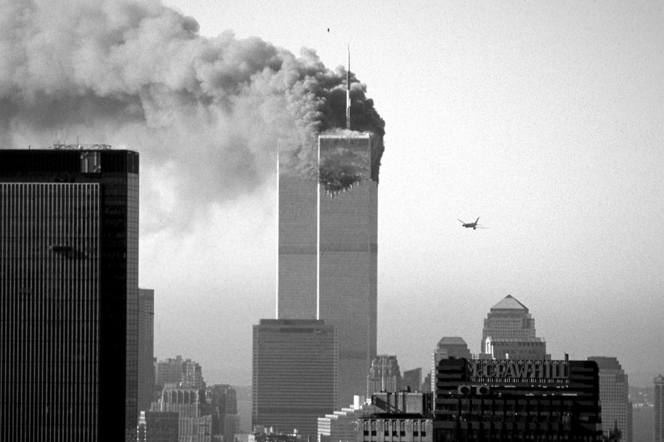 A hijacked plane approaches new yorks world trade center shortly before crashing into the landmark skyscraper