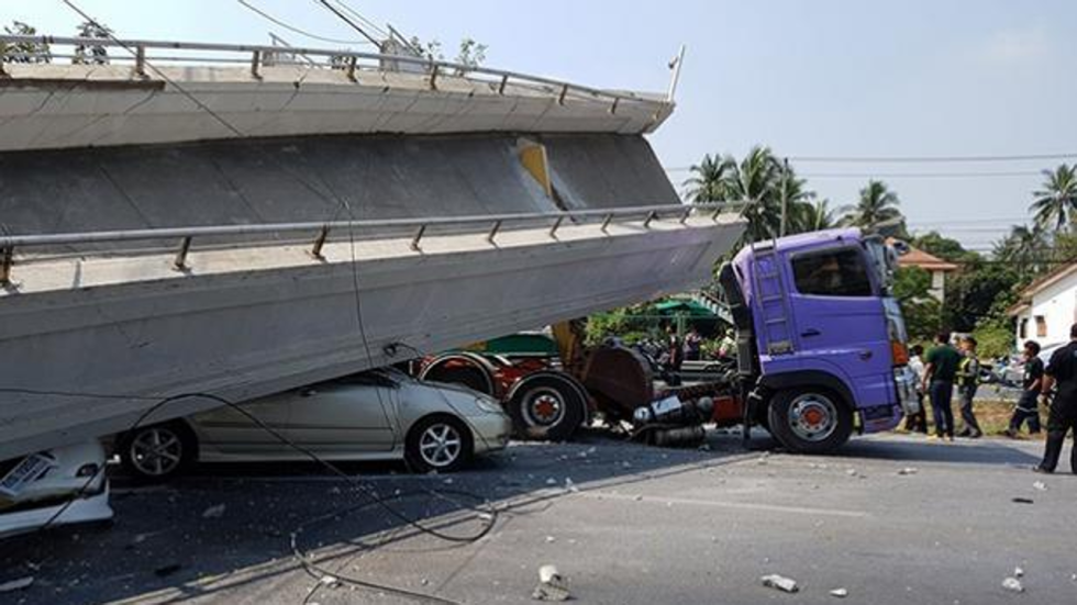 Bridge Collapses On Highway In Thailand When Hit By Truck