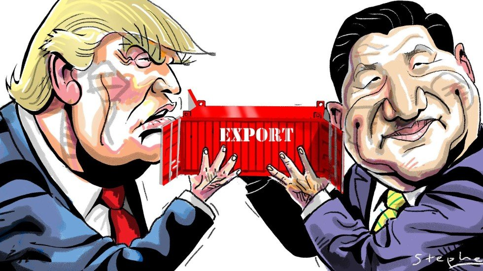 Risultati immagini per trade war china trump cartoons