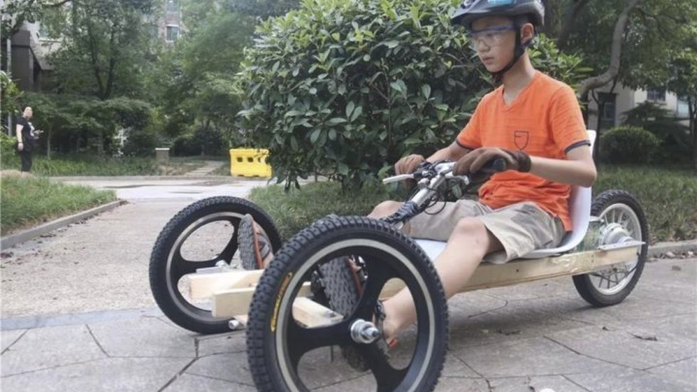kart over hele asia Chinese boy, 11, takes DIY go kart for a spin after busy school  kart over hele asia