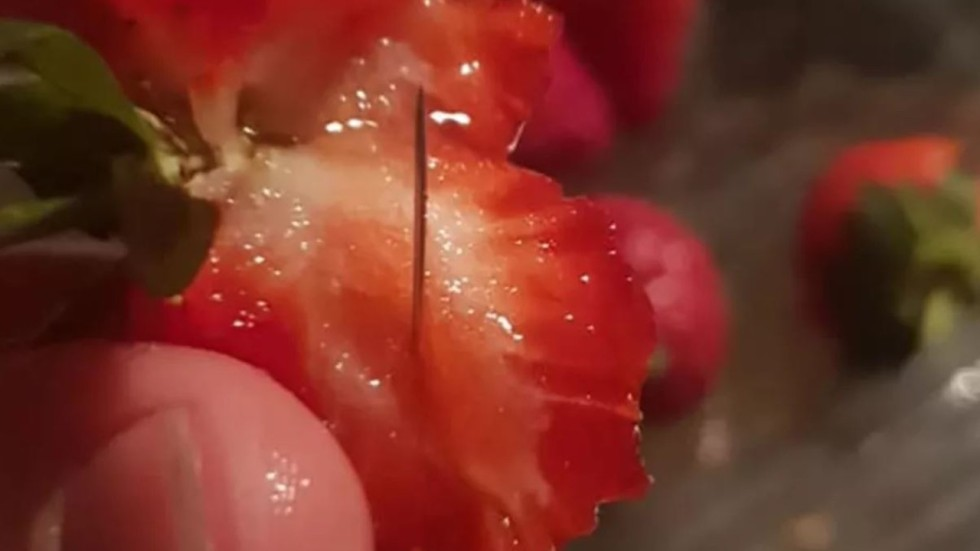 Image result for strawberry with needles