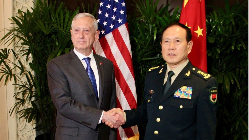 Image result for James Mattis and Chinese Defence Minister Wei Fenghe, photos