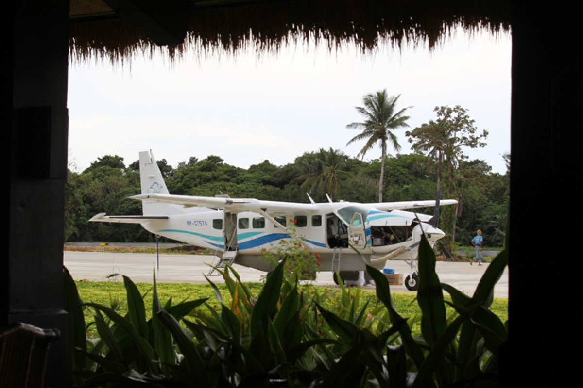 One of the club's planes on the island airstrip.
