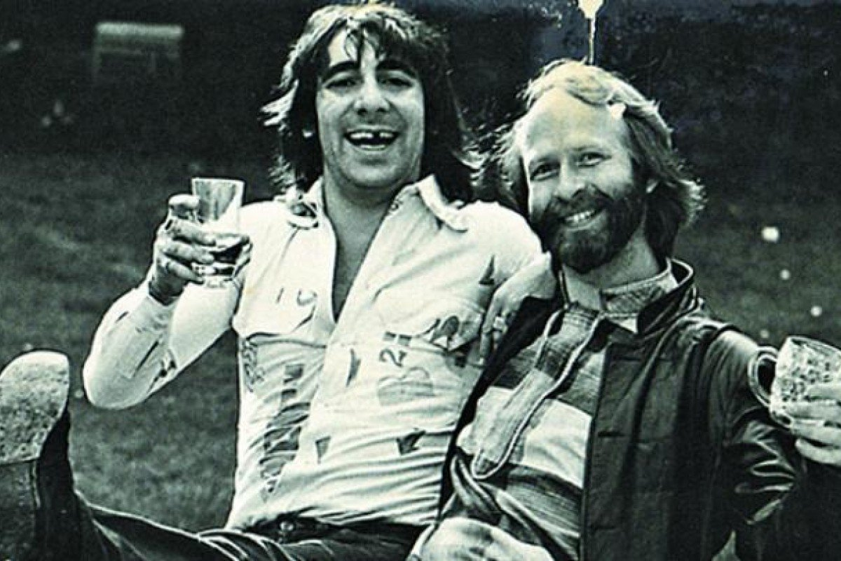Hopkins enjoys a little hokey cokey with Keith Moon of The Who in 1972. Photo: Courtesy of Jerry Hopkins
