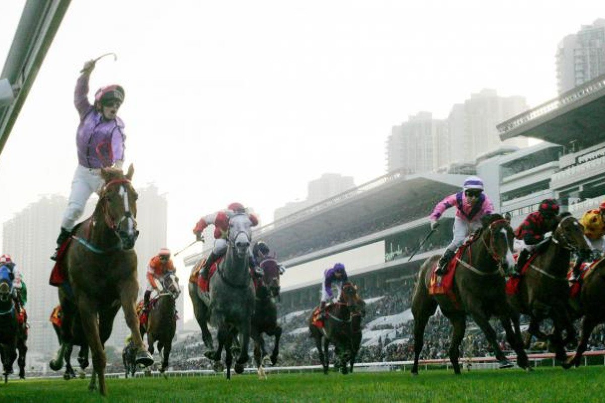 Tim Clark celebrates his first Hong Kong Group One success in style aboard 125-1 shot It Has To Be You, who enjoyed a gun run along the fence. Photo: Kenneth Chan