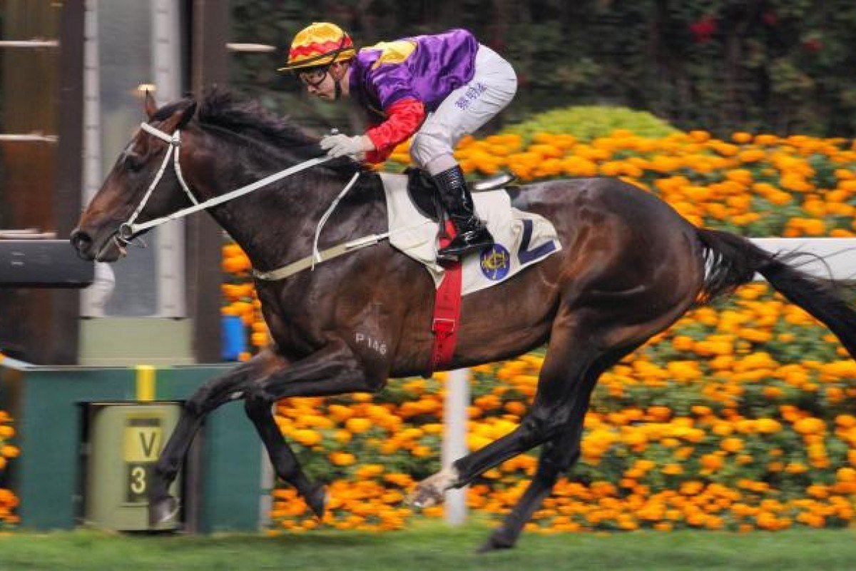 Matthew Chadwick has no trouble steering Lucky Omens over the line to win race six at Happy Valley last night. Photo: Kenneth Chan