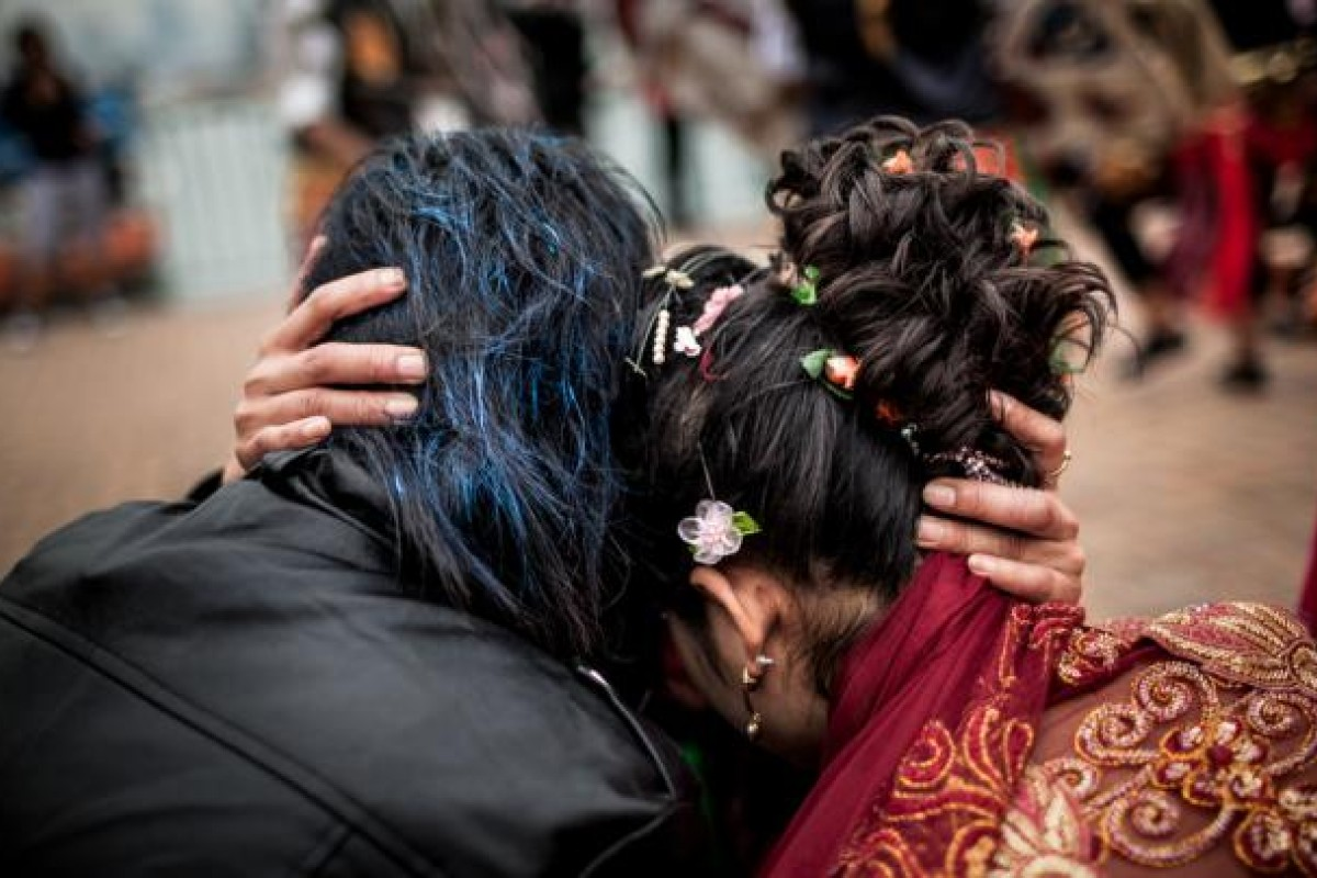 """Yoean and Abellya are given a ceremonial blessing at their birthday party-cum-""""wedding""""."""