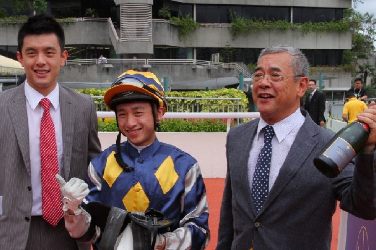 It's another champagne moment for Peter Ng Bik-kuen, who is joined by his son, Pierre Ng Pang-chi, and Dicky Lui Cheuk-yin after Namjong Turbo's shock win on Sunday. Photos: Kenneth Chan