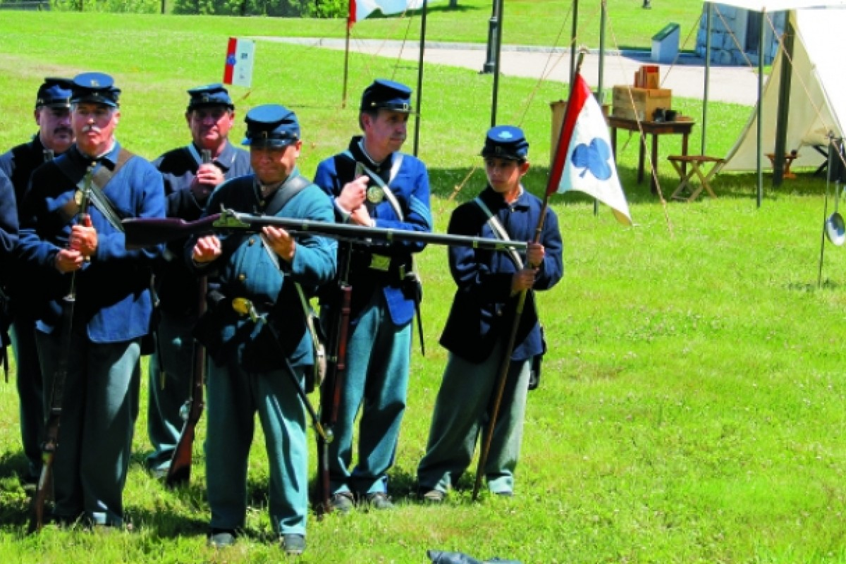 Irving Moy (centre) re-enacts the role of Guangzhou-born Joseph Pierce during an event at Fort Trumbull State Park in New London, Connecticut.