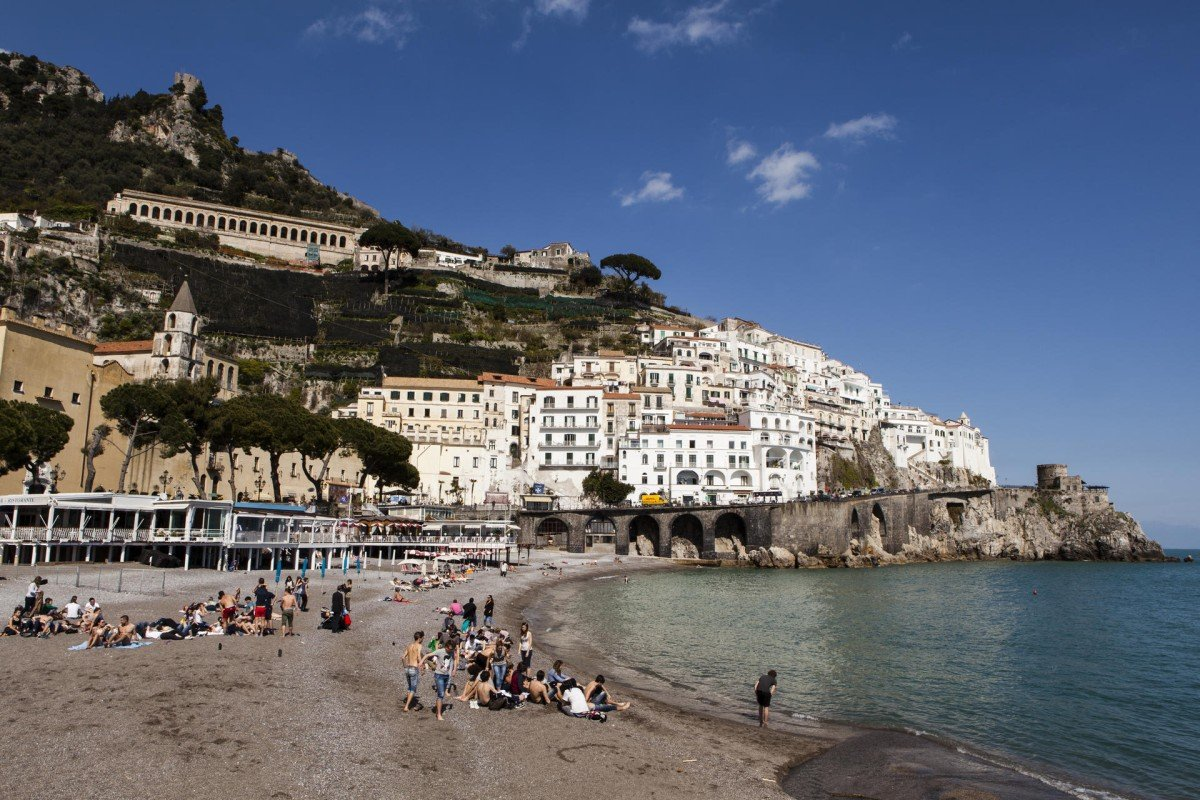 A tourist beach on the Amalfi coast.