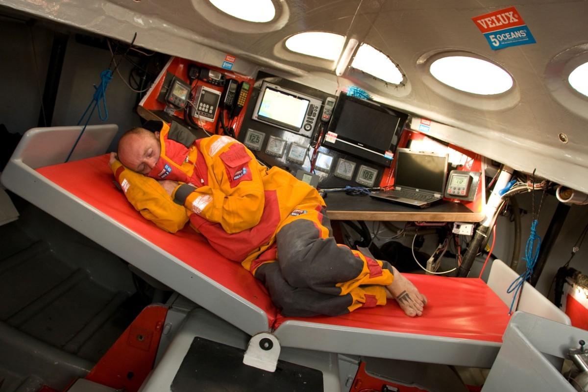 Stanmore-Major takes a power nap on the Spartan. Photo: WWI/Velux 5 Oceans/Ainhoa Sanchez