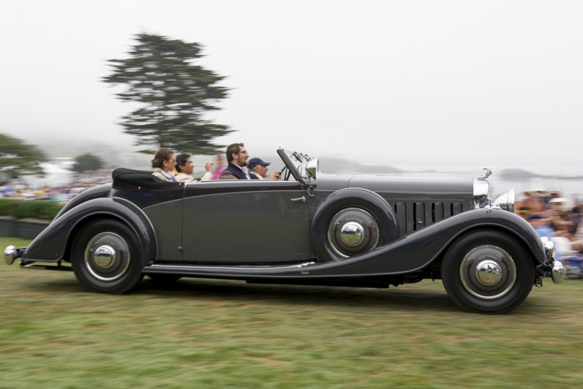 Michael Kadoorie drives his 1934 Hispano Suiza J12 Vanvooren Coupe at the 2013 Pebble Beach Concours d'Elegance in Pebble Beach, California.