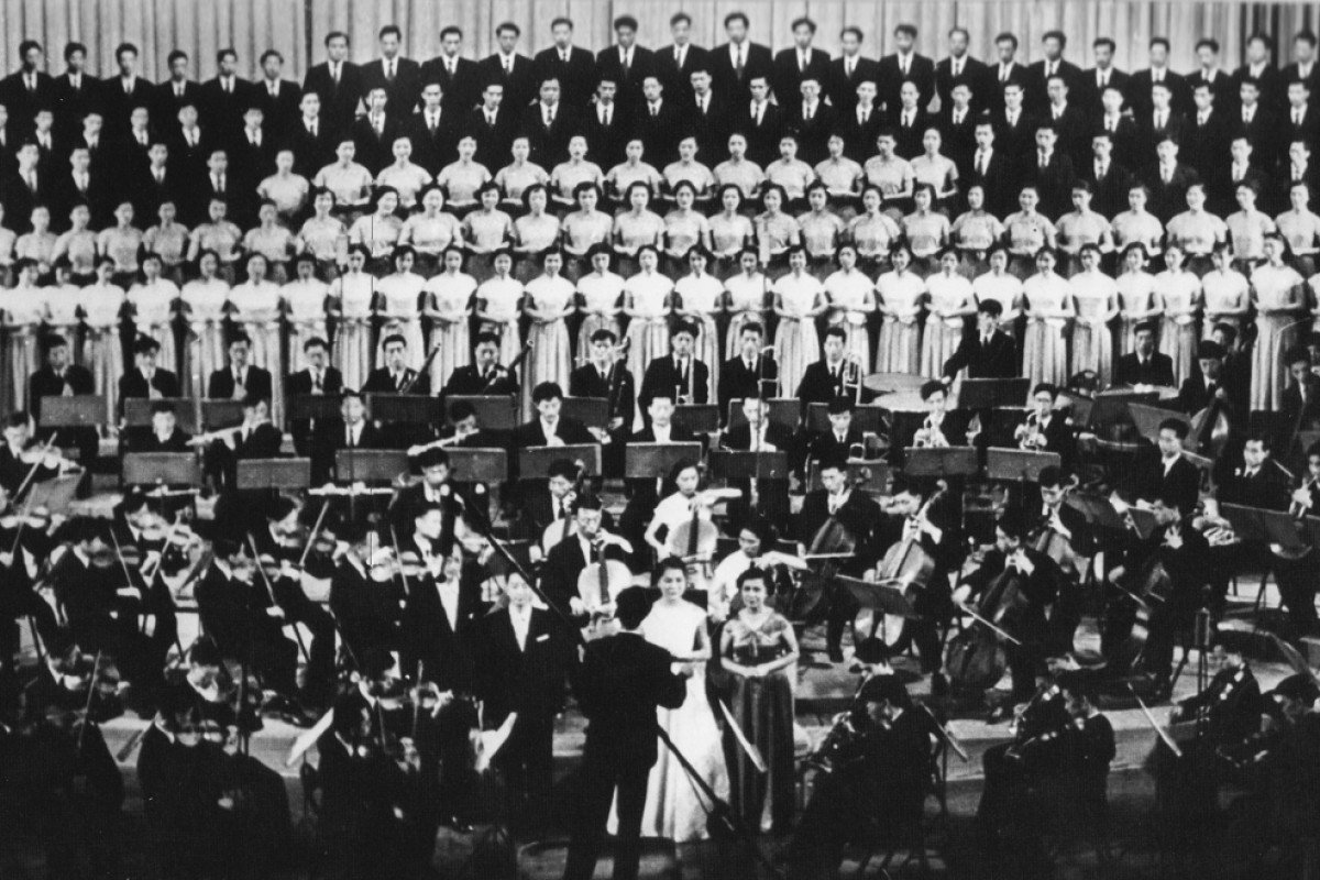 The Central Philharmonic Orchestra and Chorus performs Beethoven's 9th symphony on the 10th National Day, in 1959.