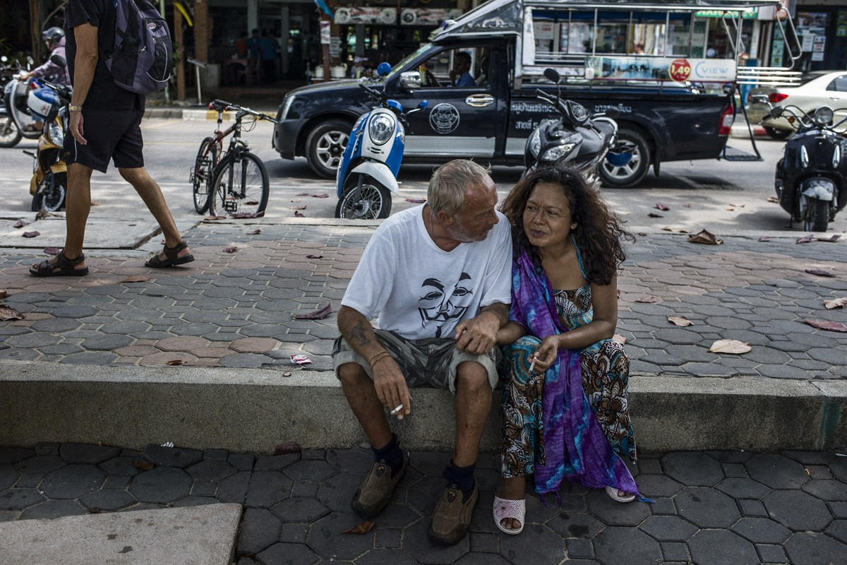 Steve, from Manchester, with a street friend in Pattaya.