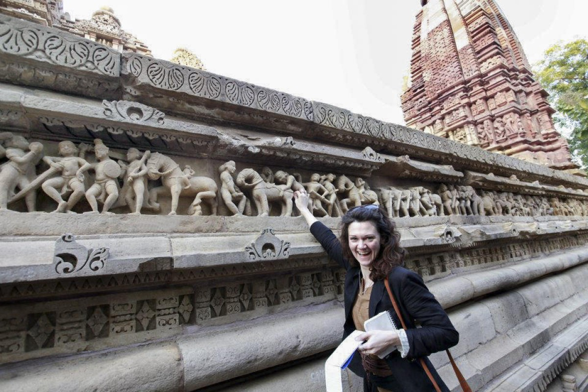 Sally Howard at the temples of Khajuraho, which are famous for their erotic sculptures, in the Indian state of Madhya Pradesh. Photos: Corbis