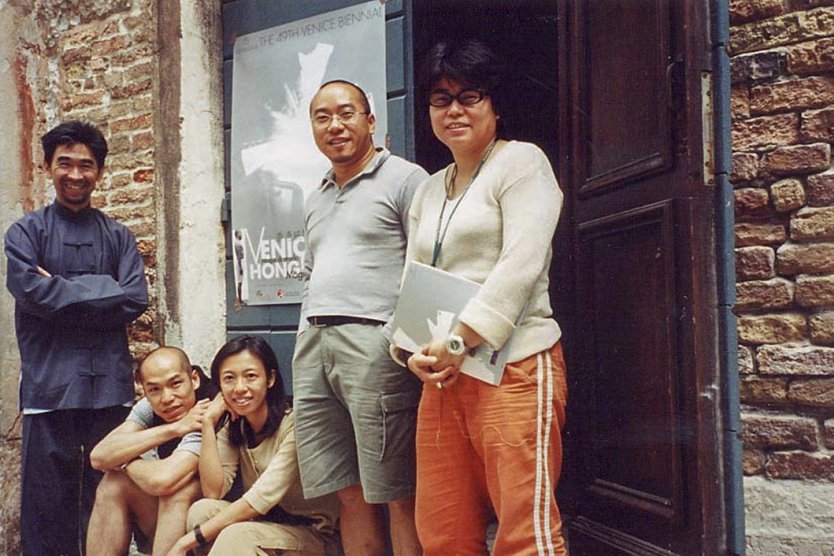 "(From left) Chang with fellow artists Leung Chi-wo, Sara Wong, Ho Siu-kee and Ellen Pau at the ""Magic at Street Level"" exhibition (which was curated by Chang), at the Hong Kong Pavilion of the 49th Venice Biennale, in June 2001."