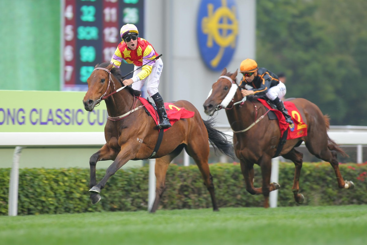Tommy Berry celebrates his victory on Designs on Rome in the Classic Cup, with stablemate Able Friend (Joao Moreira) a vanquished favourite. Photo: Kenneth Chan