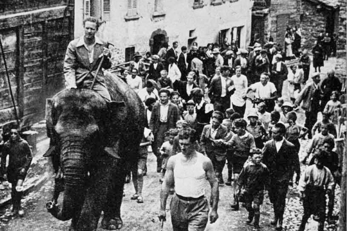 Halliburton rides an elephant in the Alps, tracing the footsteps of Carthaginian general Hannibal.