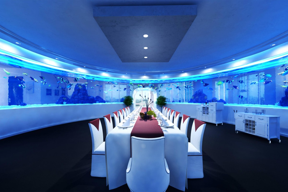 The aquarium is designed with a room inside so the owner can feel like they are surrounded by the ocean. There is enough floor space inside for dinner parties and dancing.