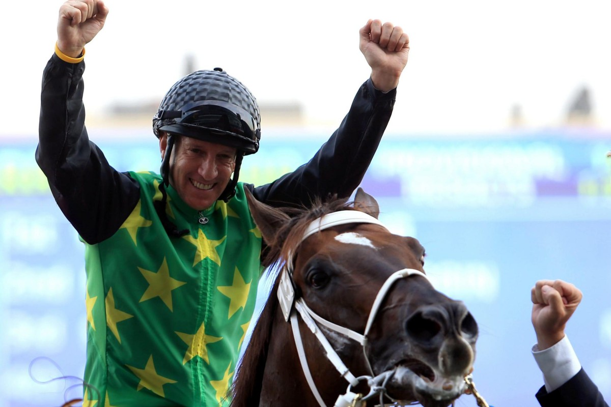 Anton Marcus and Variety Club after winning winning the Godolphin mile race during this year's Dubai World Cup. Photo: EPA