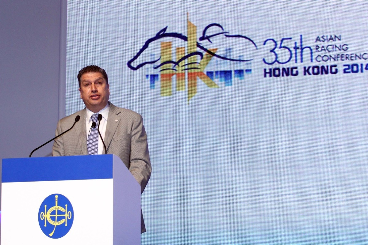 The Jockey Club's executive director of racing, Bill Nader, presents to the Asian Racing Conference on Tuesday. Photo: HKJC