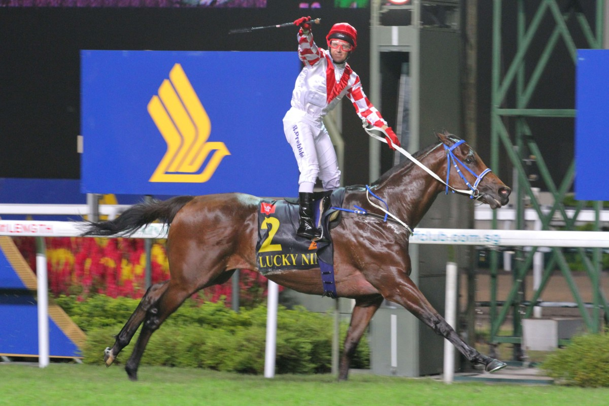 Lucky Nine wins the KrisFlyer Sprint in Singapore last year. He is aiming for back-to-back victories on Sunday. Photo: Kenneth Chan