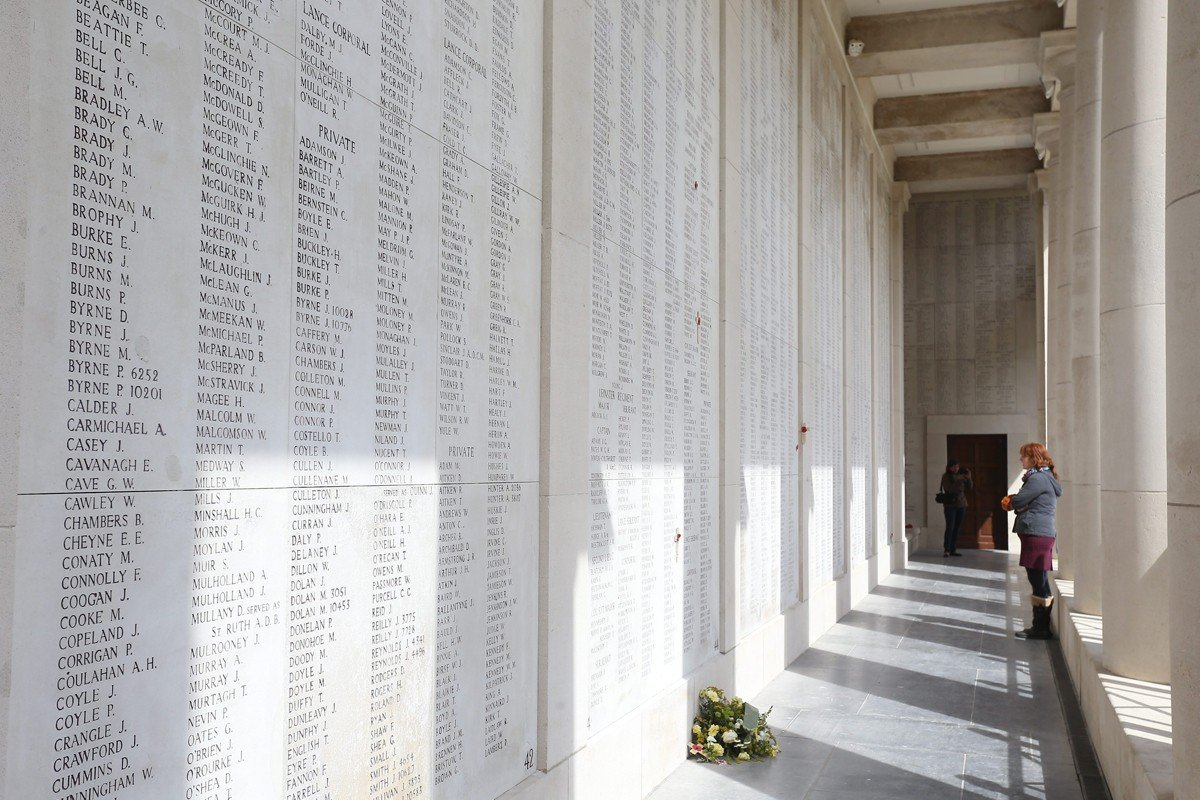 A wall at the Menin Gate Memorial with names of British and Commonwealth soldiers who died in Ypres during the first world war.