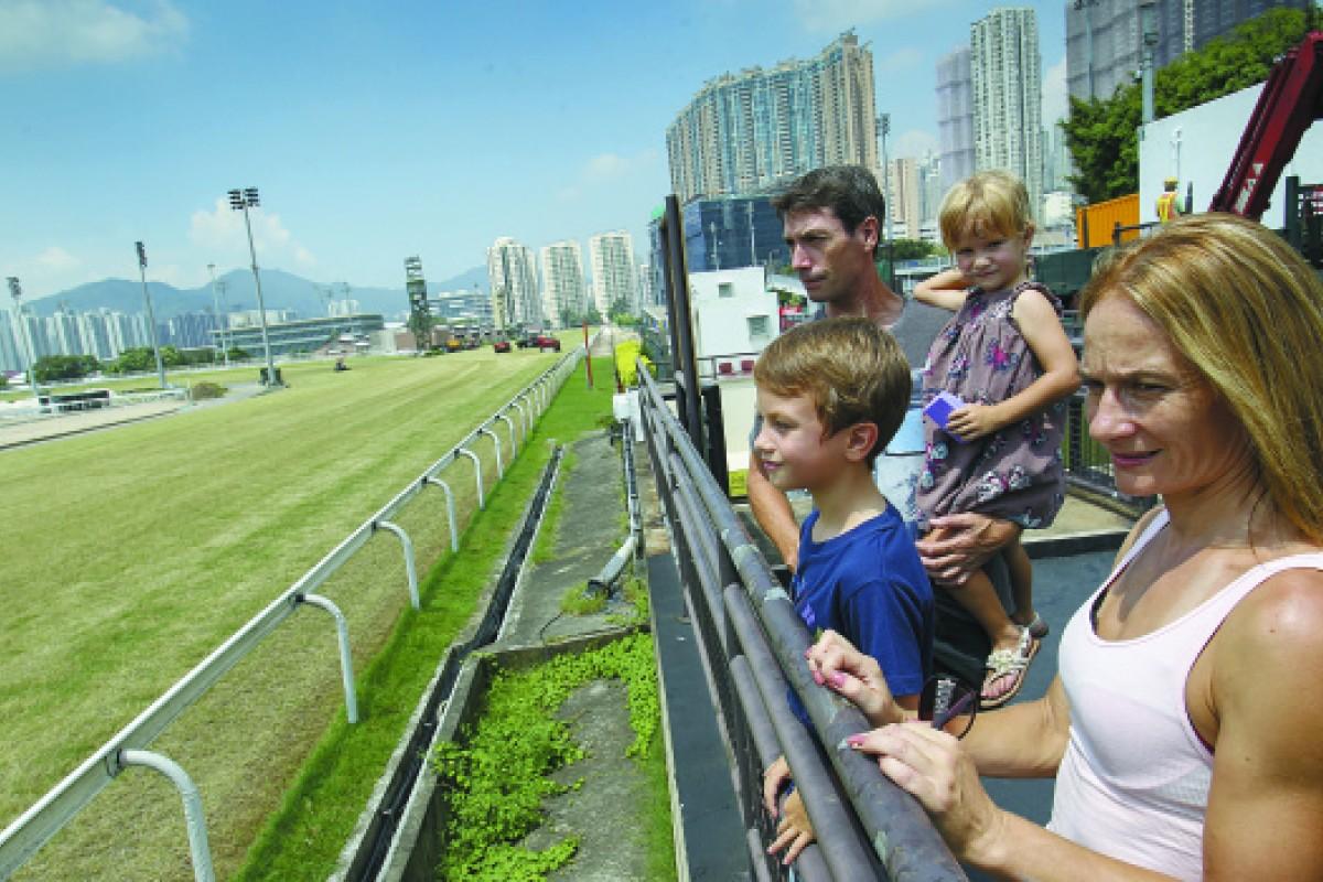 The Clarke family at the Sha Tin racecourse.