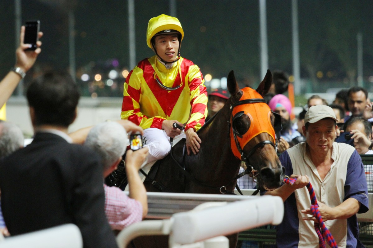 Vincent Ho Chak-yiu earns his 13th win of the season aboard Namjong Blossoms in race two, but he received a three-day ban for careless riding in the last race. Photo: Kenneth Chan