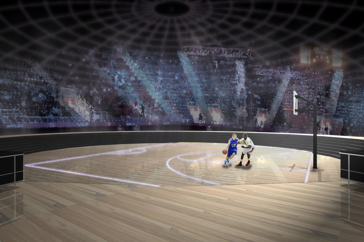 The digital gaming arena, with hi-tech screens on all surfaces, creates an interactive 3D environment. It can be turned into a basketball court. Illustration: Anzon Wong
